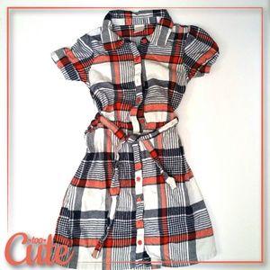 Gymboree Orange & Navy Plaid Flannel Dress
